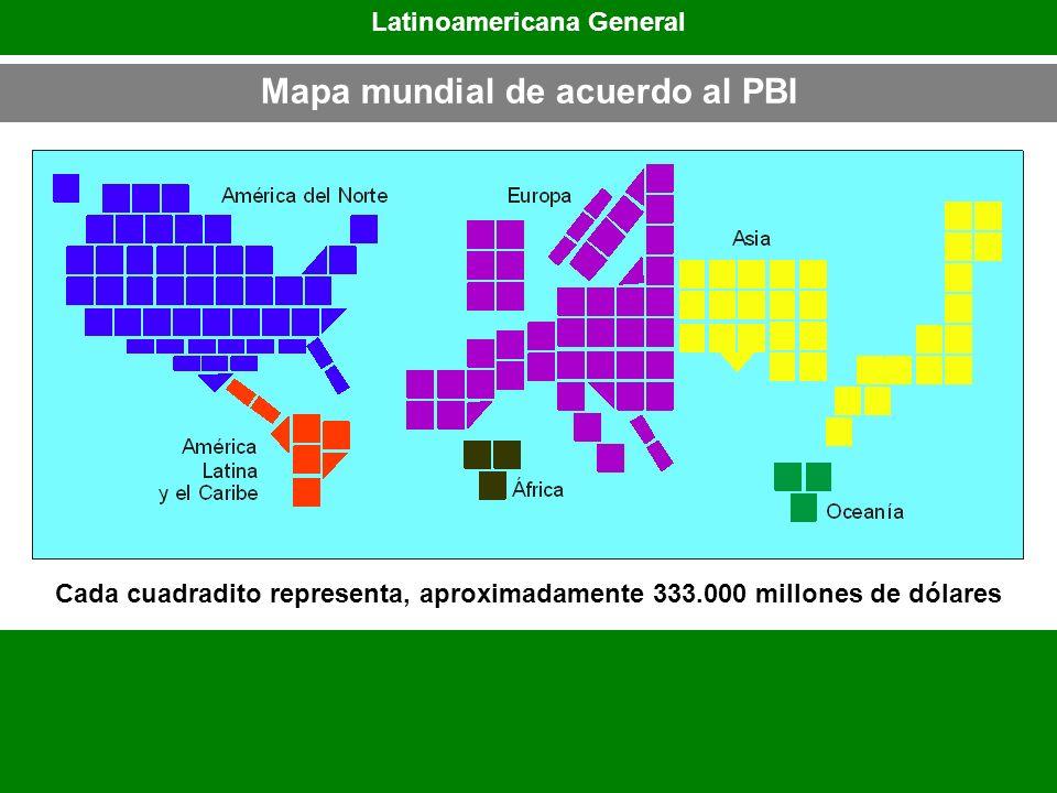 Latinoamericana General Mapa mundial de acuerdo al PBI Cada cuadradito representa, aproximadamente 333.000 millones de dólares