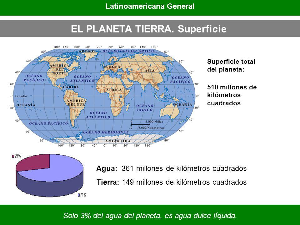 EL PLANETA TIERRA. Superficie Agua: 361 millones de kilómetros cuadrados Tierra: 149 millones de kilómetros cuadrados Superficie total del planeta: 51