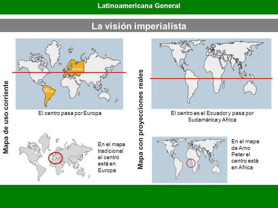 Mapa de uso corriente Mapa con proyecciones reales En el mapa tradicional el centro está en Europa En el mapa de Arno Peter el centro está en Africa L