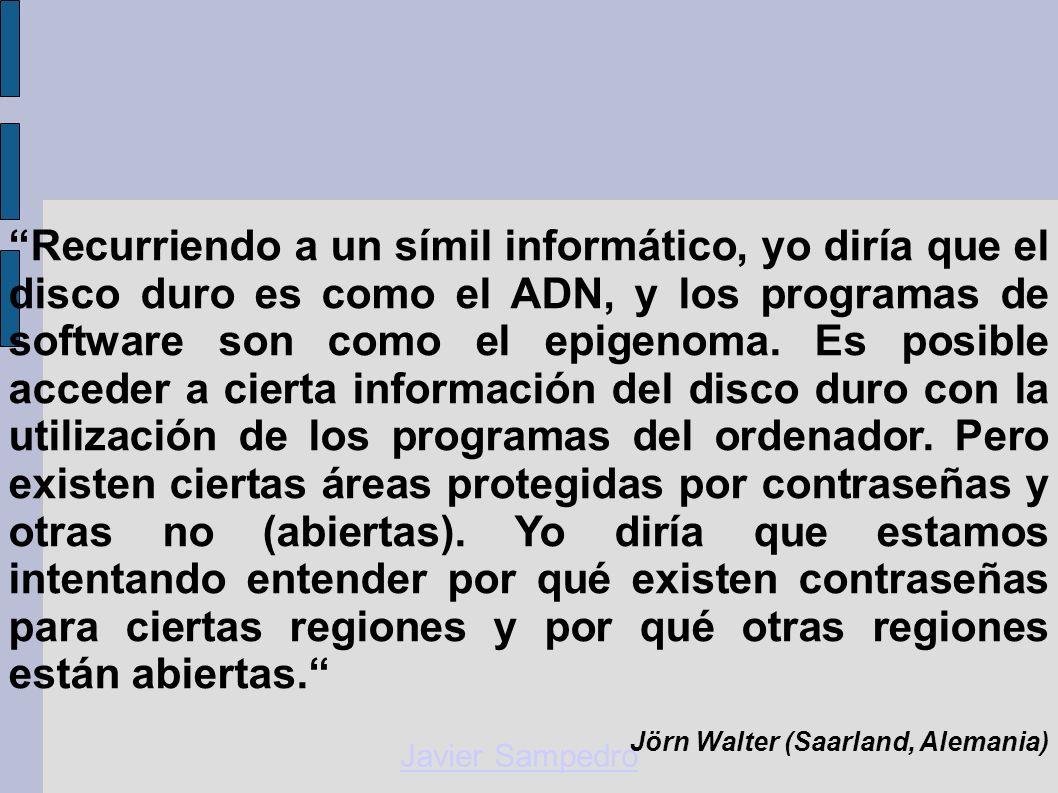 Javier Sampedro Recurriendo a un símil informático, yo diría que el disco duro es como el ADN, y los programas de software son como el epigenoma. Es p