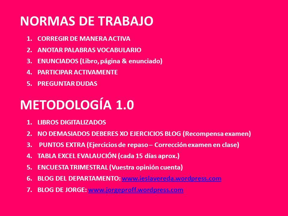 NORMAS DE TRABAJO METODOLOGÍA 1.0 1.LIBROS DIGITALIZADOS 2.NO DEMASIADOS DEBERES XO EJERCICIOS BLOG (Recompensa examen) 3. PUNTOS EXTRA (Ejercicios de