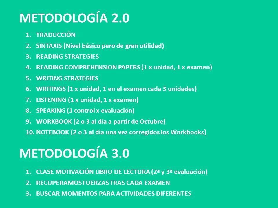 METODOLOGÍA 2.0 METODOLOGÍA 3.0 1.TRADUCCIÓN 2.SINTAXIS (Nivel básico pero de gran utilidad) 3.READING STRATEGIES 4.READING COMPREHENSION PAPERS (1 x