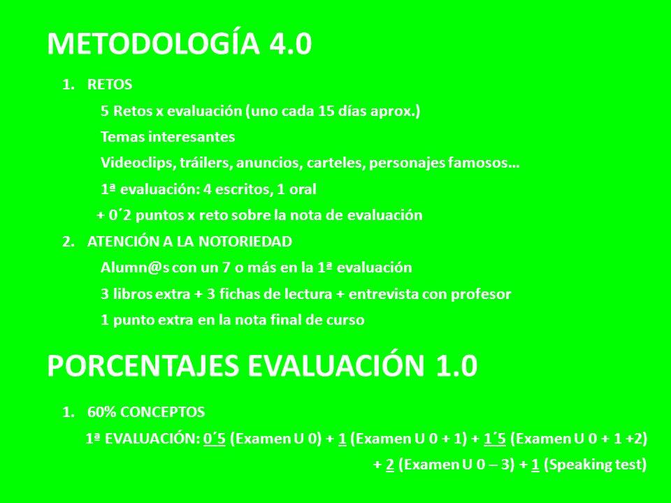 METODOLOGÍA 4.0 PORCENTAJES EVALUACIÓN 1.0 1.RETOS 5 Retos x evaluación (uno cada 15 días aprox.) Temas interesantes Videoclips, tráilers, anuncios, c