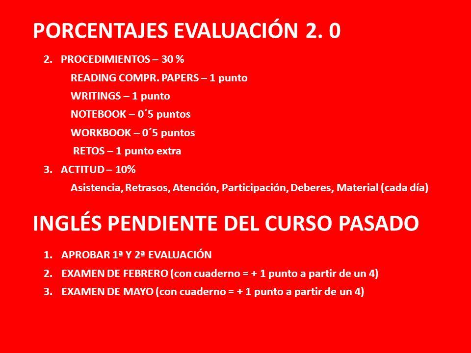 PORCENTAJES EVALUACIÓN 2. 0 INGLÉS PENDIENTE DEL CURSO PASADO 2. PROCEDIMIENTOS – 30 % READING COMPR. PAPERS – 1 punto WRITINGS – 1 punto NOTEBOOK – 0