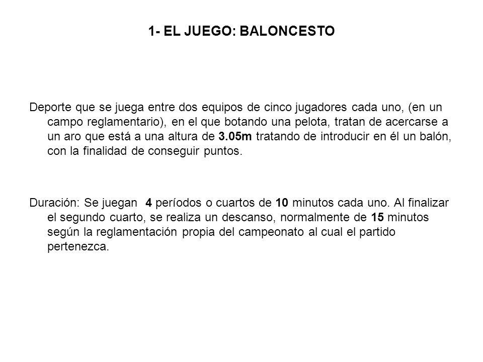 1- EL JUEGO: BALONCESTO Deporte que se juega entre dos equipos de cinco jugadores cada uno, (en un campo reglamentario), en el que botando una pelota,