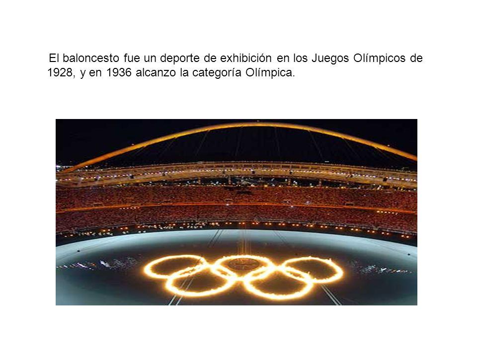 El baloncesto fue un deporte de exhibición en los Juegos Olímpicos de 1928, y en 1936 alcanzo la categoría Olímpica.