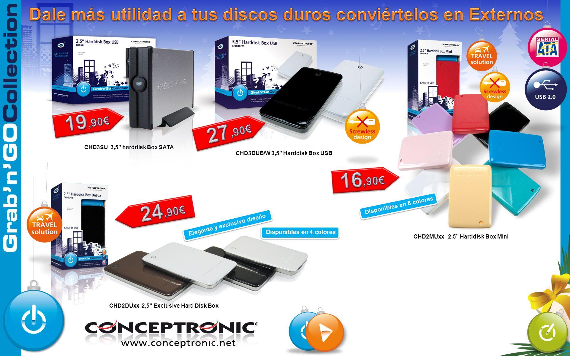 CHD3SU 3,5 harddisk Box SATA CHD3DUB/W 3,5 Harddisk Box USB CHD2DUxx 2,5