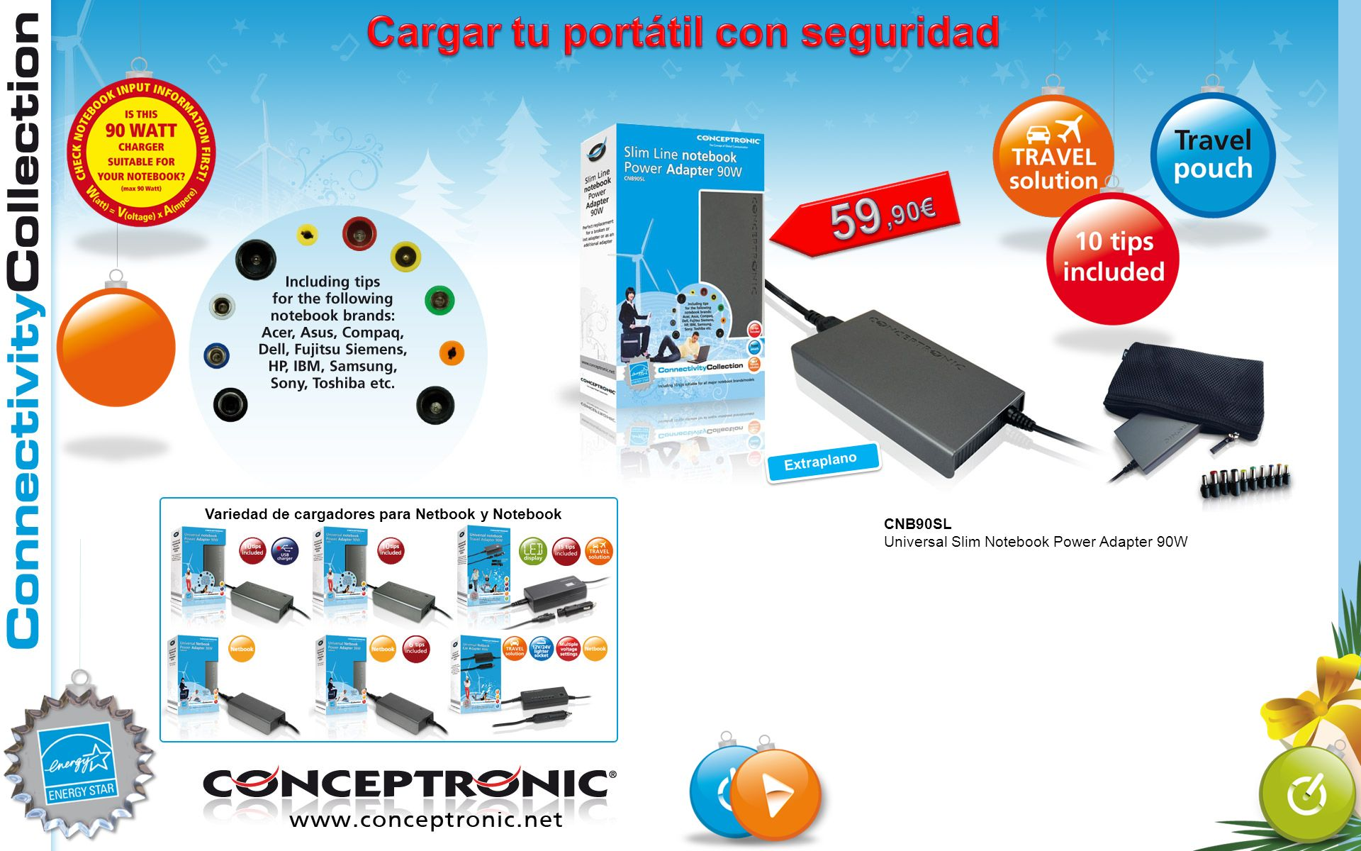 CNB90SL Universal Slim Notebook Power Adapter 90W Extraplano Variedad de cargadores para Netbook y Notebook