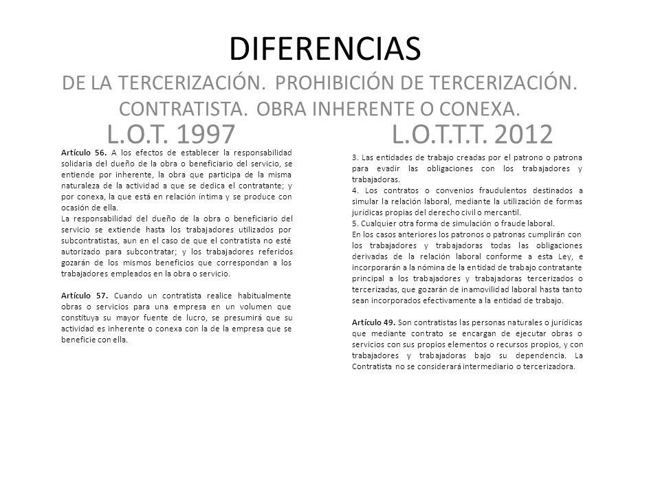 DIFERENCIAS L.O.T.1997L.O.T.T.T. 2012 DE LA TERCERIZACIÓN.