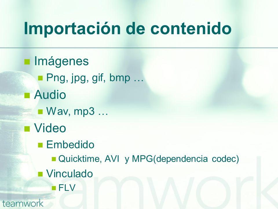 Importación de contenido Imágenes Png, jpg, gif, bmp … Audio Wav, mp3 … Video Embedido Quicktime, AVI y MPG(dependencia codec) Vinculado FLV