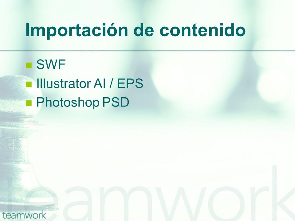 Importación de contenido SWF Illustrator AI / EPS Photoshop PSD