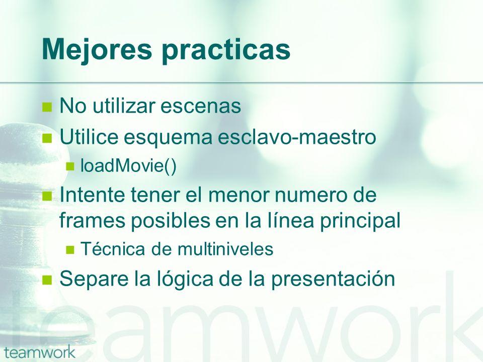 Mejores practicas No utilizar escenas Utilice esquema esclavo-maestro loadMovie() Intente tener el menor numero de frames posibles en la línea princip