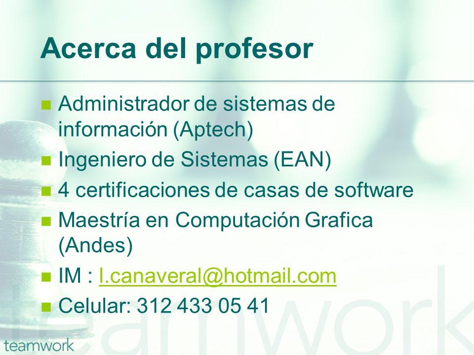 Acerca del profesor Administrador de sistemas de información (Aptech) Ingeniero de Sistemas (EAN) 4 certificaciones de casas de software Maestría en C