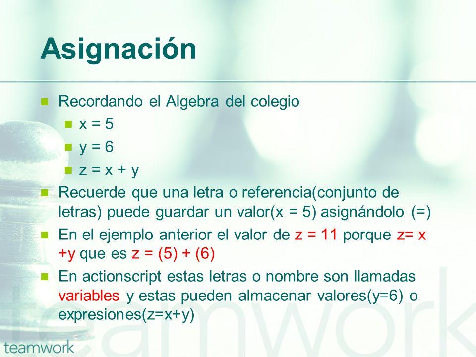 Asignación Recordando el Algebra del colegio x = 5 y = 6 z = x + y Recuerde que una letra o referencia(conjunto de letras) puede guardar un valor(x =