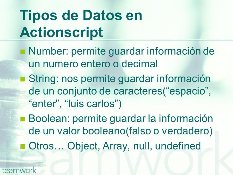 Tipos de Datos en Actionscript Number: permite guardar información de un numero entero o decimal String: nos permite guardar información de un conjunt