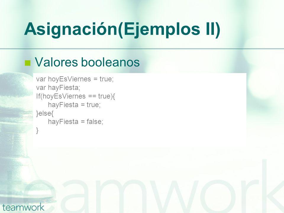 Asignación(Ejemplos II) Valores booleanos var hoyEsViernes = true; var hayFiesta; If(hoyEsViernes == true){ hayFiesta = true; }else{ hayFiesta = false