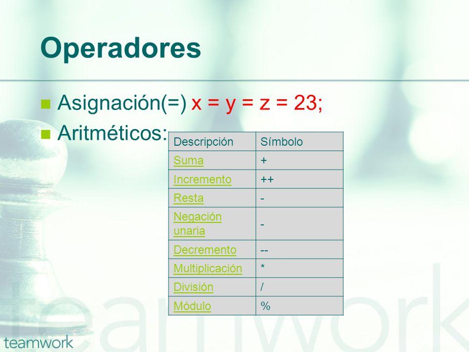 Operadores Asignación(=) x = y = z = 23; Aritméticos: DescripciónSímbolo Suma+ Incremento++ Resta- Negación unaria - Decremento-- Multiplicación* Divi