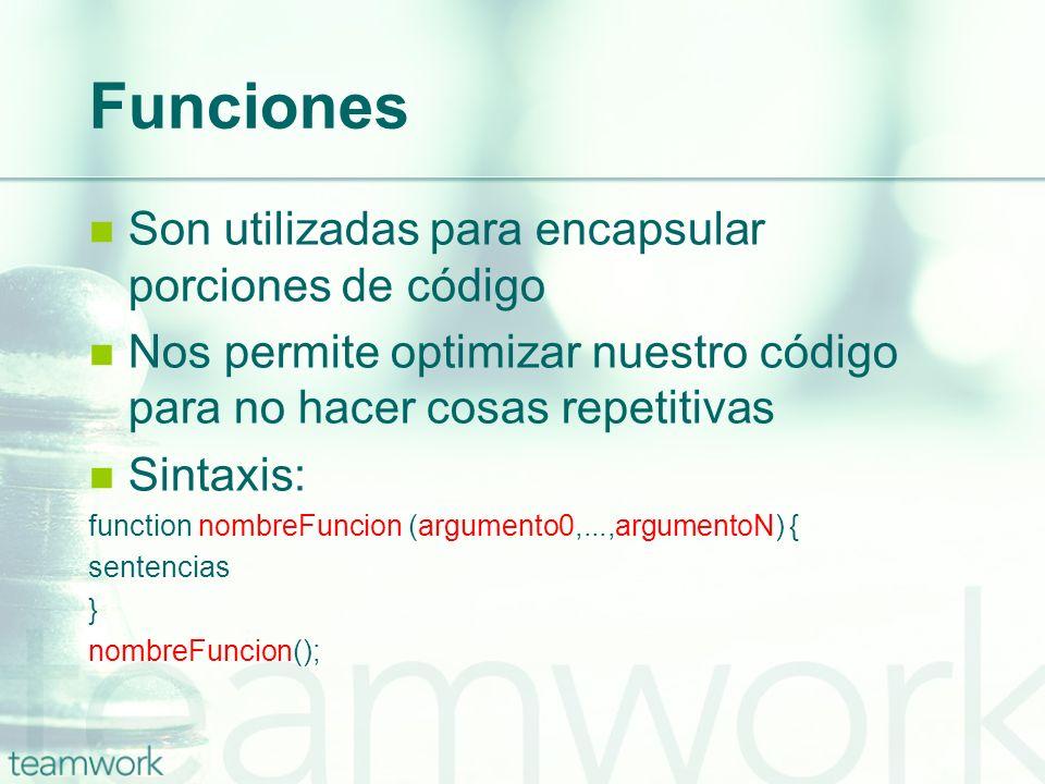 Funciones Son utilizadas para encapsular porciones de código Nos permite optimizar nuestro código para no hacer cosas repetitivas Sintaxis: function n