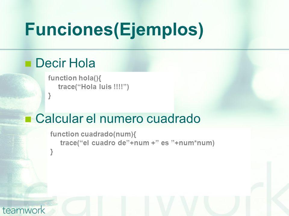 Funciones(Ejemplos) Decir Hola Calcular el numero cuadrado function hola(){ trace(Hola luis !!!!) } function cuadrado(num){ trace(el cuadro de+num + e