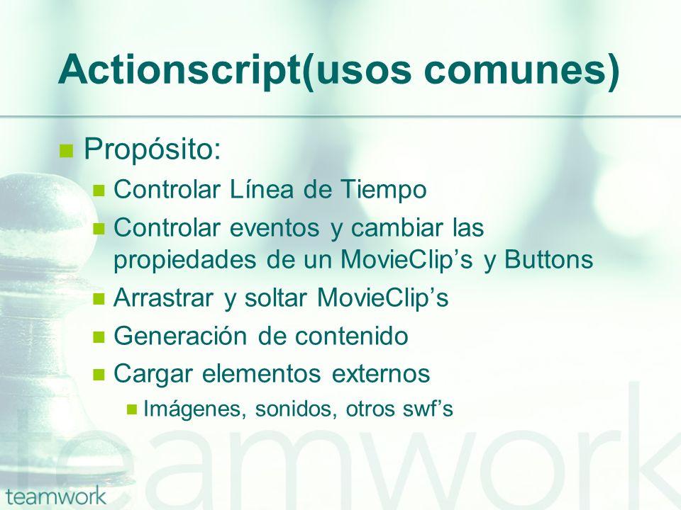 Actionscript(usos comunes) Propósito: Controlar Línea de Tiempo Controlar eventos y cambiar las propiedades de un MovieClips y Buttons Arrastrar y sol