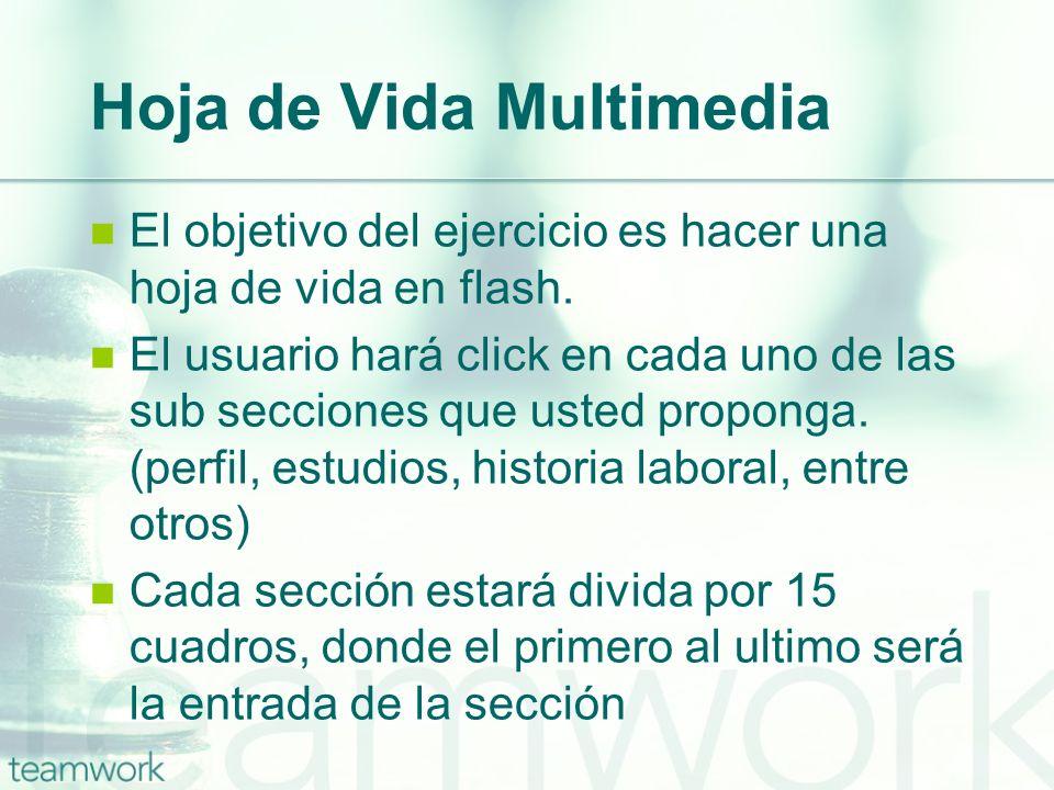 Hoja de Vida Multimedia El objetivo del ejercicio es hacer una hoja de vida en flash. El usuario hará click en cada uno de las sub secciones que usted