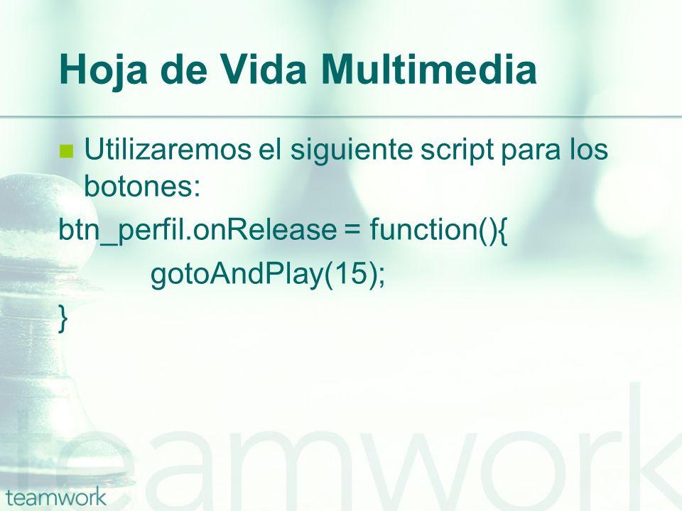 Hoja de Vida Multimedia Utilizaremos el siguiente script para los botones: btn_perfil.onRelease = function(){ gotoAndPlay(15); }