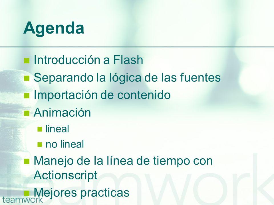 Agenda Introducción a Flash Separando la lógica de las fuentes Importación de contenido Animación lineal no lineal Manejo de la línea de tiempo con Ac