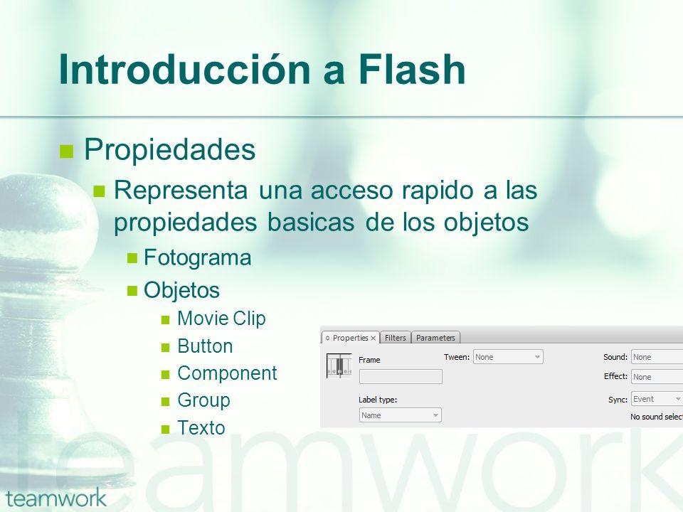Introducción a Flash Propiedades Representa una acceso rapido a las propiedades basicas de los objetos Fotograma Objetos Movie Clip Button Component G
