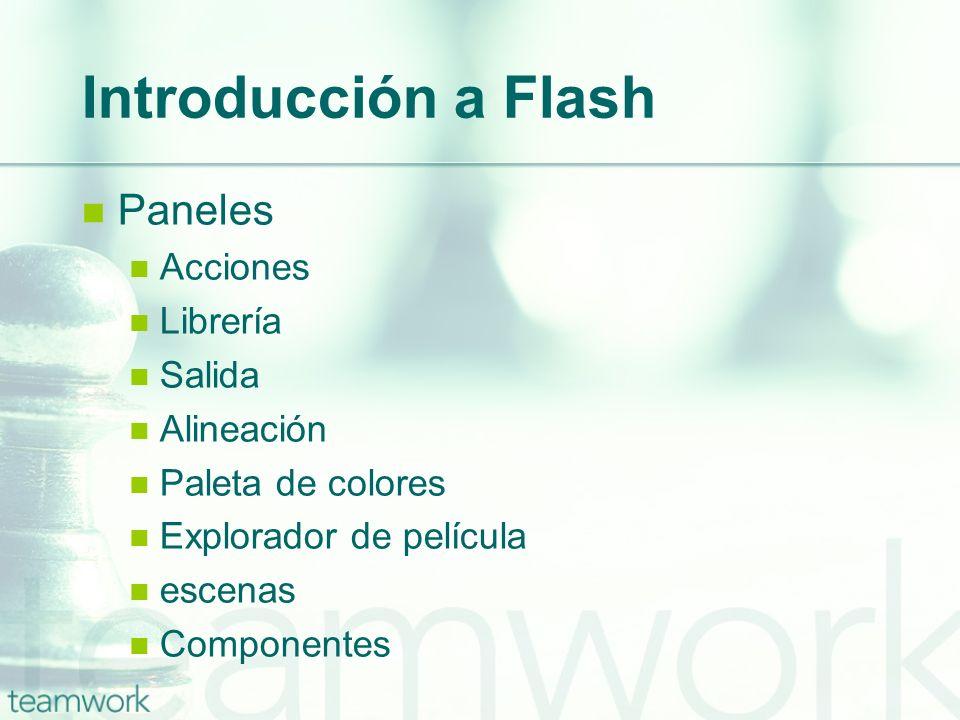 Introducción a Flash Paneles Acciones Librería Salida Alineación Paleta de colores Explorador de película escenas Componentes