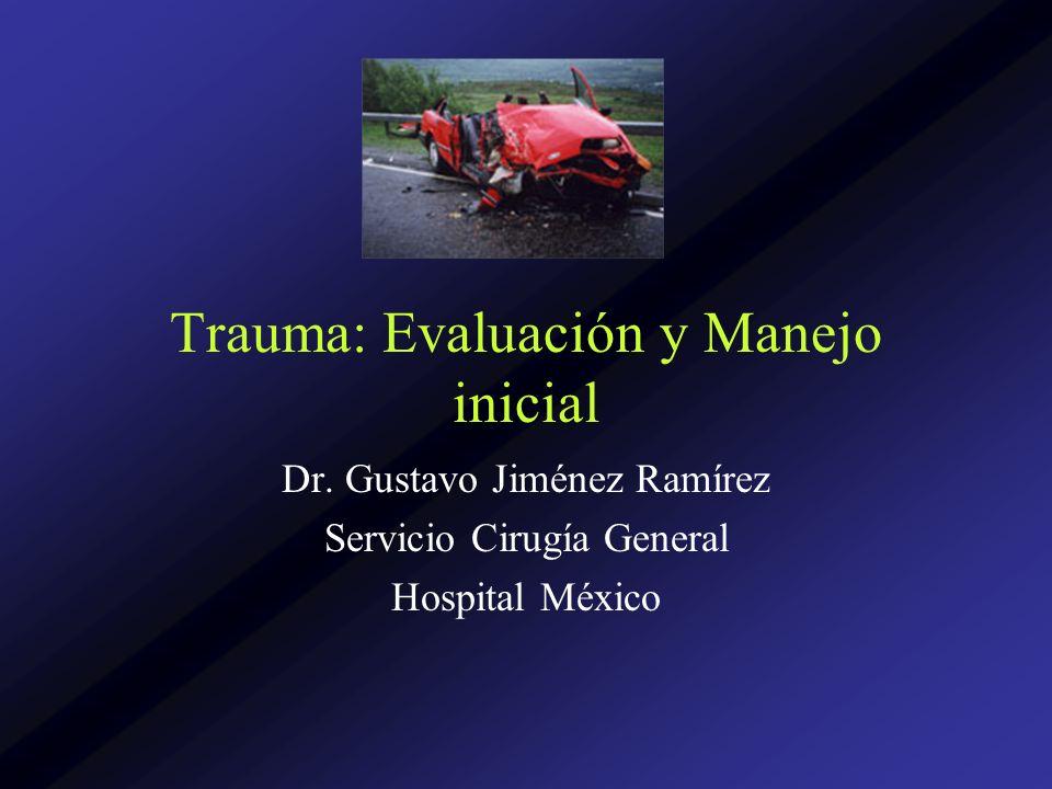 Trauma: Evaluación y Manejo inicial Dr. Gustavo Jiménez Ramírez Servicio Cirugía General Hospital México
