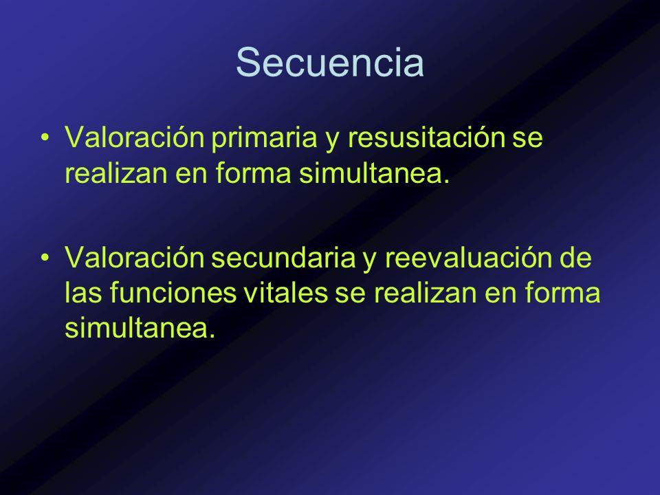 Secuencia Valoración primaria y resusitación se realizan en forma simultanea. Valoración secundaria y reevaluación de las funciones vitales se realiza