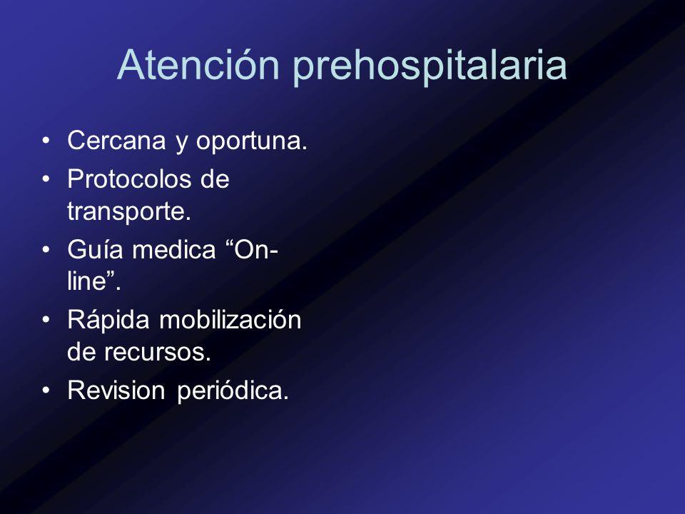 Atención prehospitalaria Cercana y oportuna. Protocolos de transporte. Guía medica On- line. Rápida mobilización de recursos. Revision periódica.