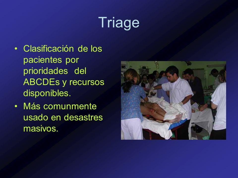 Triage Clasificación de los pacientes por prioridades del ABCDEs y recursos disponibles. Más comunmente usado en desastres masivos.