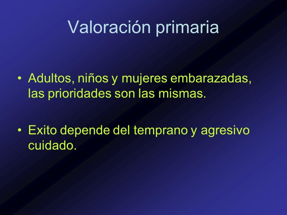 Valoración primaria Adultos, niños y mujeres embarazadas, las prioridades son las mismas. Exito depende del temprano y agresivo cuidado.