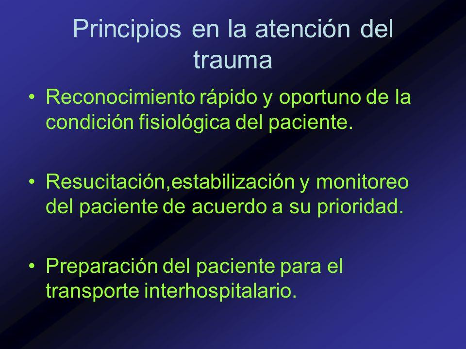 Principios en la atención del trauma Reconocimiento rápido y oportuno de la condición fisiológica del paciente. Resucitación,estabilización y monitore