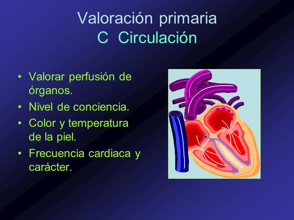 Valoración primaria C Circulación Valorar perfusión de órganos. Nivel de conciencia. Color y temperatura de la piel. Frecuencia cardiaca y carácter.