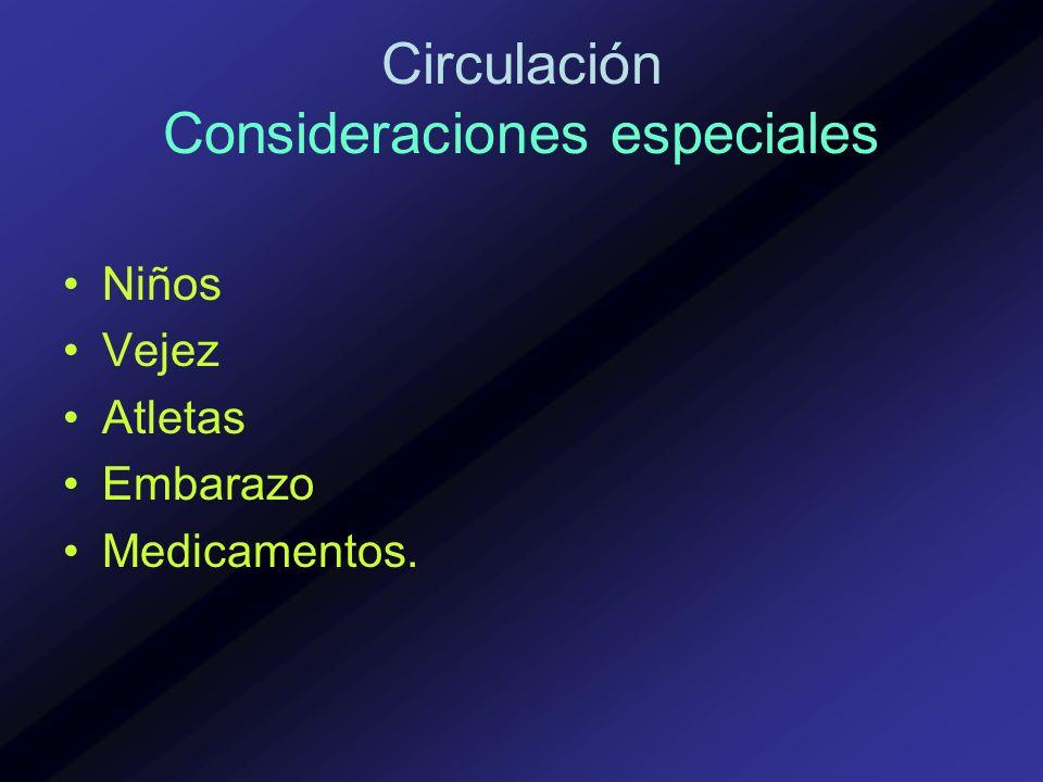 Circulación Consideraciones especiales Niños Vejez Atletas Embarazo Medicamentos.