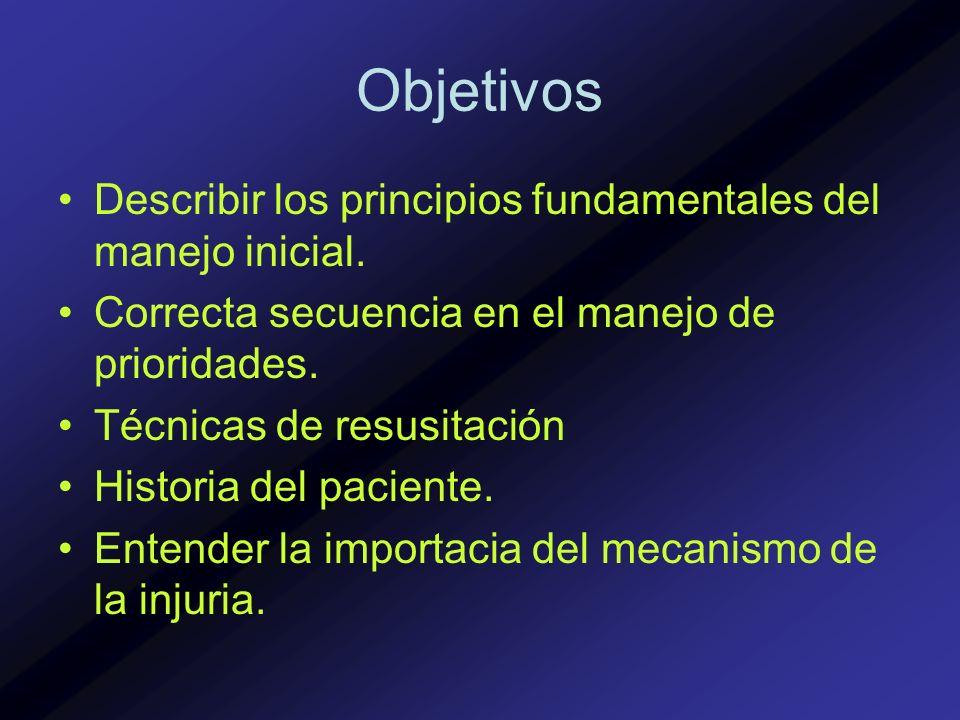 Objetivos Describir los principios fundamentales del manejo inicial. Correcta secuencia en el manejo de prioridades. Técnicas de resusitación Historia