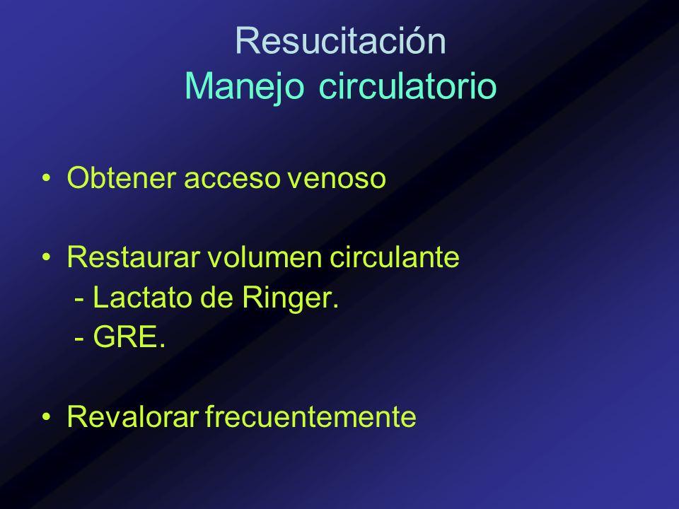Obtener acceso venoso Restaurar volumen circulante - Lactato de Ringer. - GRE. Revalorar frecuentemente