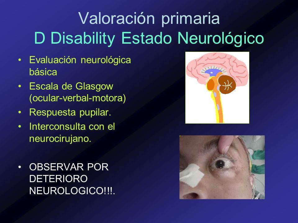 Valoración primaria D Disability Estado Neurológico Evaluación neurológica básica Escala de Glasgow (ocular-verbal-motora) Respuesta pupilar. Intercon
