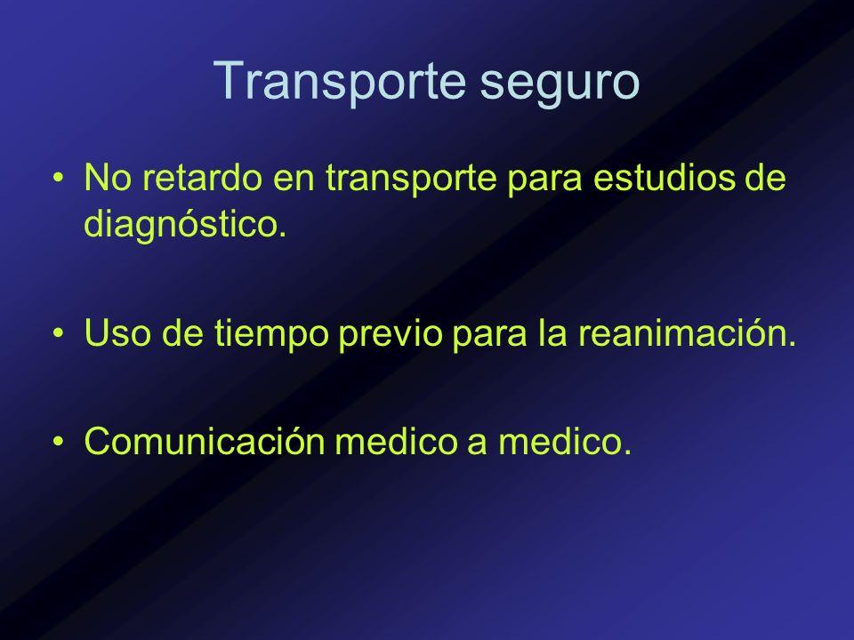 Transporte seguro No retardo en transporte para estudios de diagnóstico. Uso de tiempo previo para la reanimación. Comunicación medico a medico.