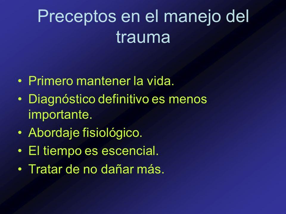 Secuencia en el manejo del trauma * Abordaje primario/resusitación - ABCDEs * Evaluación secundaria/ reevaluación - De pies a cabeza.