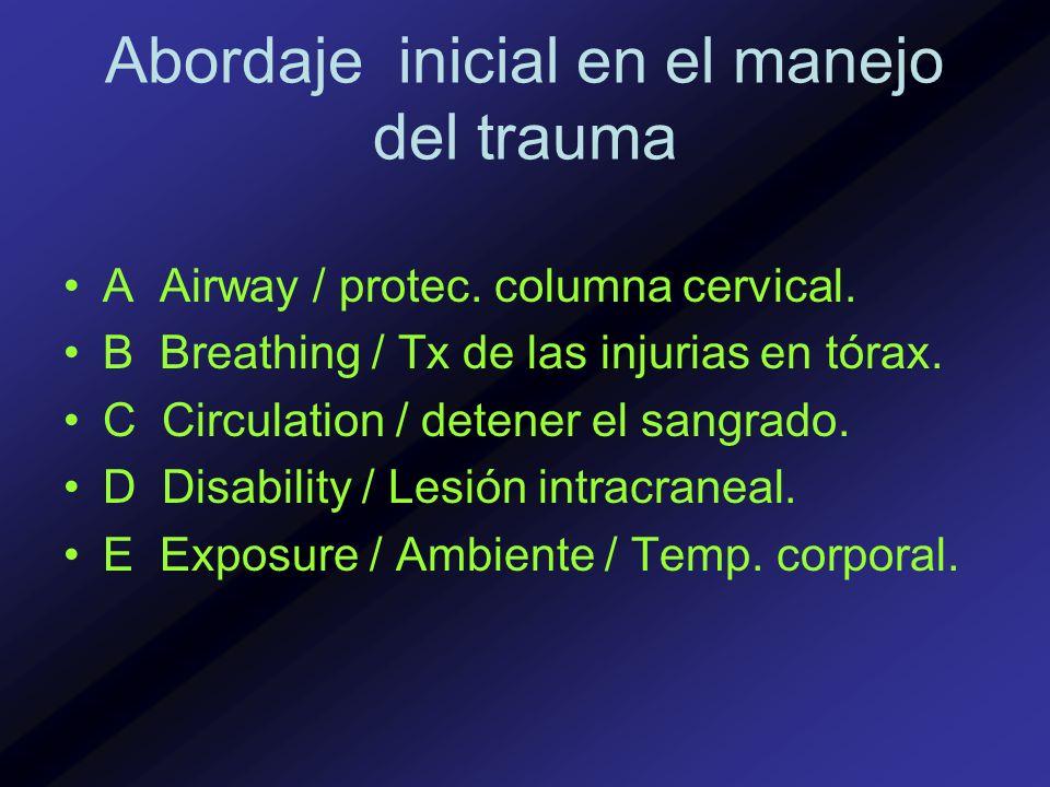 Abordaje inicial en el manejo del trauma A Airway / protec. columna cervical. B Breathing / Tx de las injurias en tórax. C Circulation / detener el sa