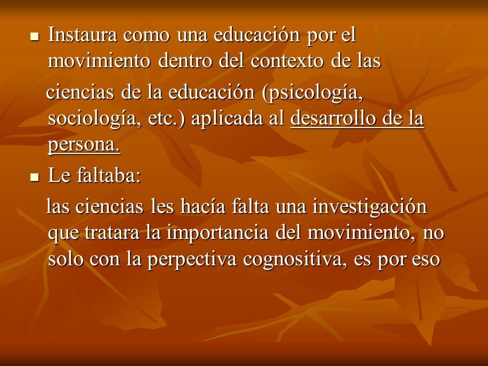 Instaura como una educación por el movimiento dentro del contexto de las Instaura como una educación por el movimiento dentro del contexto de las cien