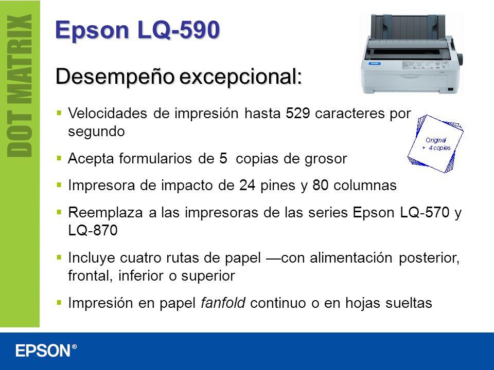 Epson LQ-590 Desempeño excepcional: Velocidades de impresión hasta 529 caracteres por segundo Acepta formularios de 5 copias de grosor Impresora de im