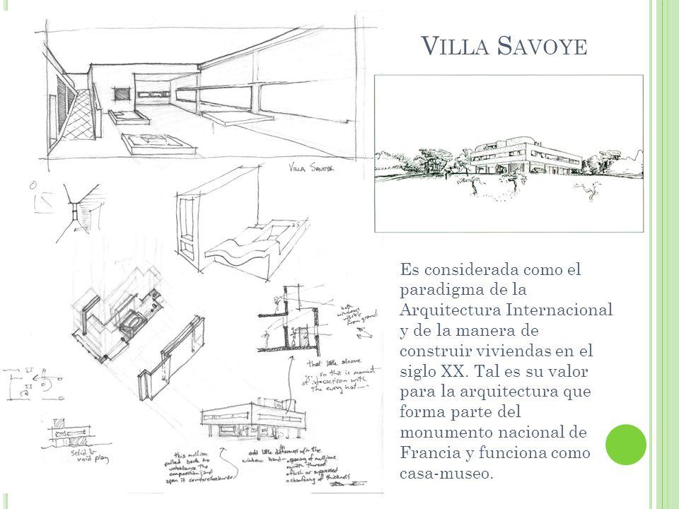 La Villa Savoye es reflejo de los cinco puntos para una nueva arquitectura de Le Corbusier: El edificio que descansa sobre pilotis (columnas), dejando la superficie en su mayoría libre para permitir que el paisaje se integre al edificio.