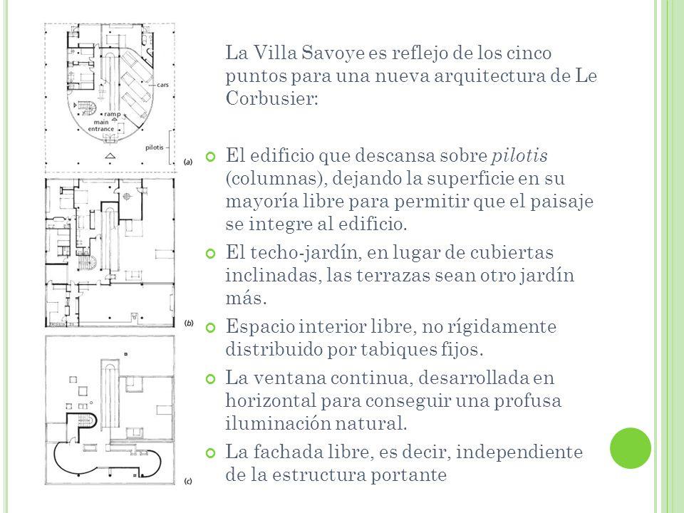 La Villa Savoye es reflejo de los cinco puntos para una nueva arquitectura de Le Corbusier: El edificio que descansa sobre pilotis (columnas), dejando