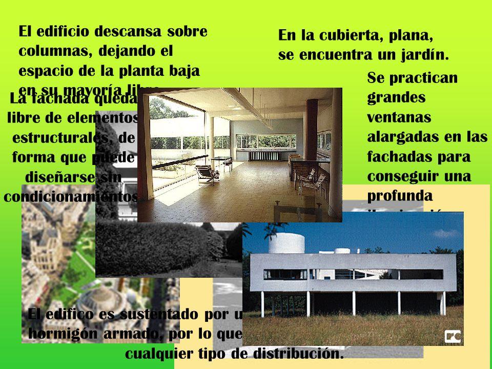 El edificio descansa sobre columnas, dejando el espacio de la planta baja en su mayoría libre. En la cubierta, plana, se encuentra un jardín. El edifi