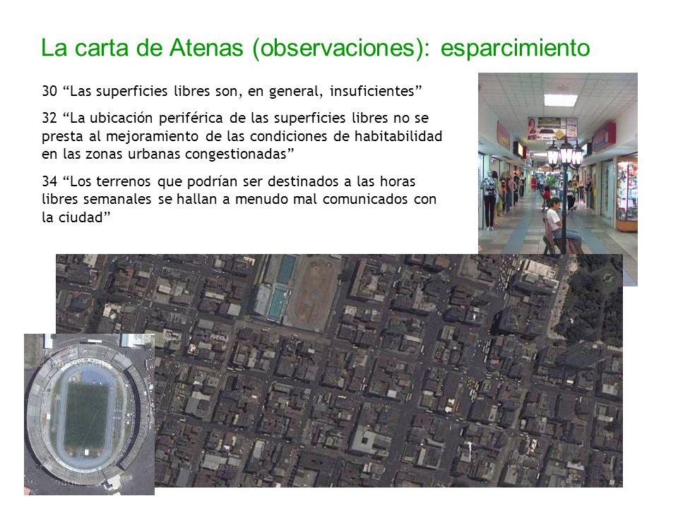 La carta de Atenas (observaciones): esparcimiento 30 Las superficies libres son, en general, insuficientes 32 La ubicación periférica de las superfici