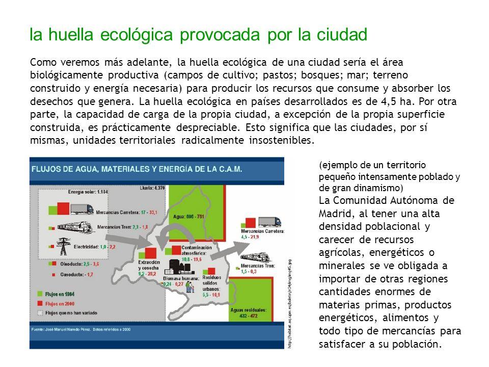 la huella ecológica provocada por la ciudad Como veremos más adelante, la huella ecológica de una ciudad sería el área biológicamente productiva (camp